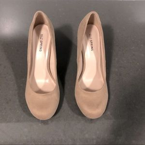 TAN FAUX SUEDE ROUND TOE HEELS FROM CALL IT SPRING
